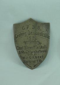 Demonstration Shield, Three Man Marshall Event Shield, Circa 1920