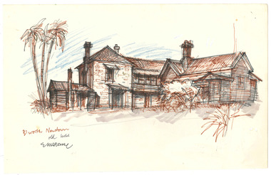 Drawing of a house in the suburb of Newtown in Beechworth, Victoria