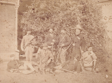 Sepia photograph of police responsible for capture of Ned Kelly