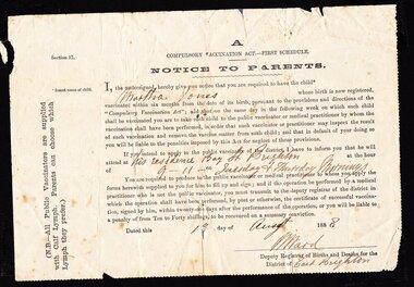 Medical Health, vaccination notice 1888