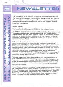 Newsletter, City of Moorabbin Historical Society  Feb 2011, February 2011