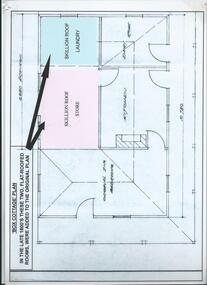 A laminated , photocopy of the  'Plan  of Box Cottage c 1865 ', 1985