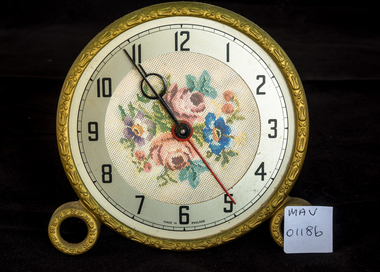 Manufacturect Object, Clock, floral brass, electric, c1950