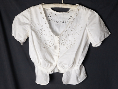 Clothing, Lady's blouse,fitted, cutwork c1950, c1950