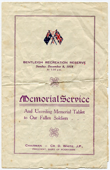 Front Cover of Programme