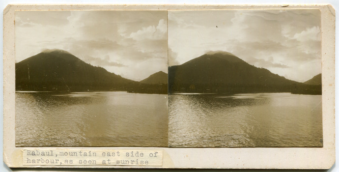 16Rabaul, mountain east side of harbour, as seen at sunrise