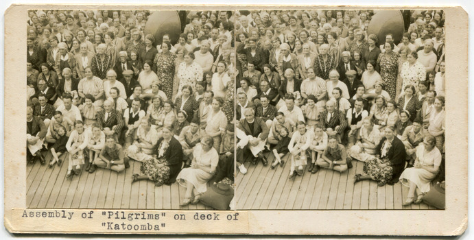 """43Assembly of """"Pilgrims"""" on deck of """"Katoomba"""""""