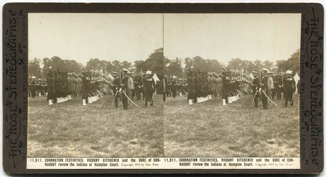 2111,911Coronation Festivities, Viscount Kitchener and the Duke of Connaught review the Indians at Hampton Court.