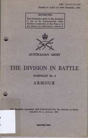 Book - Pamphlet, The Division in battle; pamphlet No 4: Armour, 1970_