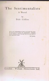 Book, The Sentimentalists: a novel by Dale Collins, 1927_