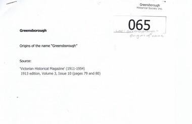 """Article, Origins of the name """"Greensborough"""", 1913_"""