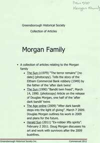Newspaper clippings, Articles on the Morgan family, 1949o