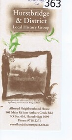 Pamphlet, Hurstbridge and District Local History Group, 2006c
