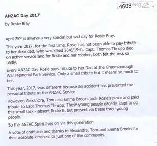 Article and Photograph, Rosie Bray, Anzac Day 2017 and Rosie Bray, 25/04/2017