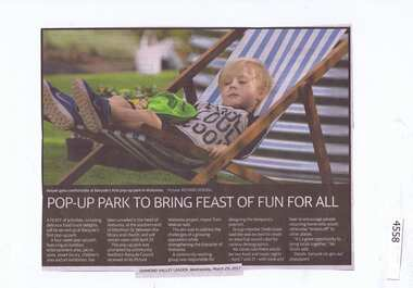Newspaper Clipping, Pop Up Park to bring feast of fun for all, 29/03/2017