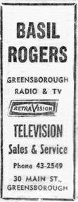 Advertisement - Digital image, Diamond Valley News, Basil Rogers, 21/11/1967