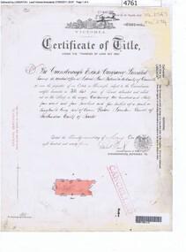 Certificate of Title, Supreme Court of Victoria (Probate Division) et al, Certificate of Title Vol. 2567 Fol. 294, Vol. 3134 Fol. 605, 22/05/1895