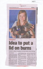 Newspaper Clipping, Diamond Valley Leader, Idea to put a lid on burns, 13/12/2017