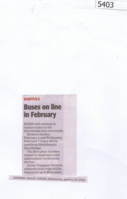 Newspaper Clipping, Diamond Valley Leader, Buses on line in February, 24/01/2018