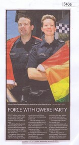 Newspaper Clipping, Diamond Valley Leader, Police Force with QWere party, 31/01/2018