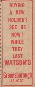 Advertisement - Digital image, Diamond Valley News, Watsons of Greensborough 1966, 19/04/1966