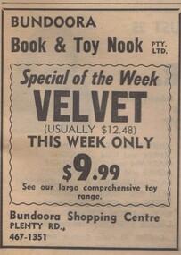 Advertisement - Digital image, Diamond Valley News, Book and Toy Nook, Bundoora, 1973, 21/08/1973