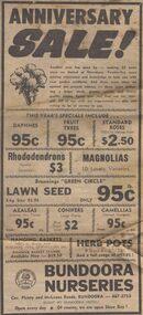 Advertisement - Digital image, Diamond Valley News, Bundoora Nurseries, 1974, 24/09/1974