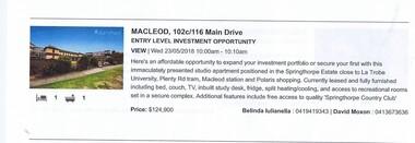 Advertising Leaflet, 102c/116 Main Drive Macleod, 23/05/2018