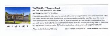 Advertising Leaflet, 17 French Court Watsonia, 19/05/2018