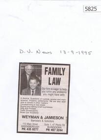Newspaper Clipping, Diamond Valley Leader, Weyman & Jamieson, family law  [1995], 13/09/1995