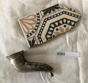 Tile and teapot spout, Tile fragment, and teapot spout, 1940s