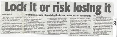 Newspaper Clipping, Diamond Valley Leader, Lock it or risk losing it, 13/02/2019