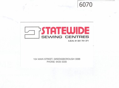 Business card and Sales Brochure, Statewide Sewing Centres, 2018_