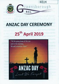 Booklet, with document, Anzac Day ceremony 25th April 2019, 25/04/2019
