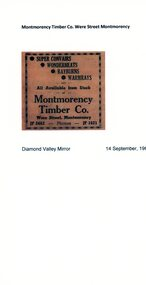 Advertisement - Newspaper Clipping, Montmorency Timber Co, 14/09/1960