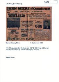 Newspaper Clipping - Digital Image, John Miers of Greensborough, 14/09/1960