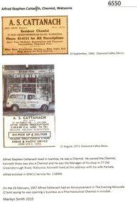 Newspaper Clipping - Digital Image, Diamond Valley News, Alfred Stephen Cattanach, Chemist, Watsonia, 1960o