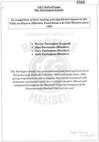 Booklet, GFC Hall of Fame: The Partington family, 2016_