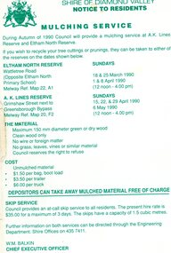Leaflet, Notice to residents: mulching service, Shire of Diamond Valley, 1990