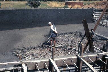 Photograph - Digital Image, Watsonia High School Pool, Construction 1976. Spraying concrete 2, 12/12/1976