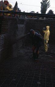 Photograph - Digital Image, Watsonia High School Pool, Construction 1976. Spraying concrete onto the walls of the pool 2, 12/12/1976