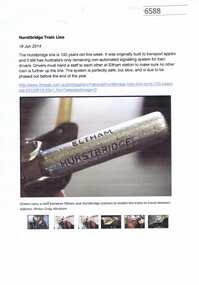Article, Journal, Hurstbridge train line, 19/06/2014