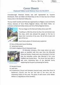 Booklet and article, Diamond Valley Local History Tour 2019, by Yarra Plenty Regional Library, 22/10/2019