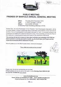 Document, Friends of Banyule Annual General Meeting 2019, 28/11/2019