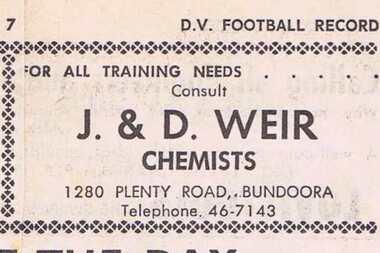 Advertisement - Digital Image, J & D Weir (Chemists) 1968, 25/08/1968