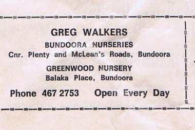 Advertisement - Digital Image, Greg Walkers Bundoora Nurseries 1972, 15/07/1972