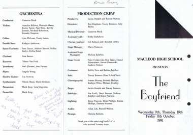 Program - Digital Image, Rosie Bray et al, Macleod High School Musical 1991: The Boyfriend McHIGH, 11/10/1991