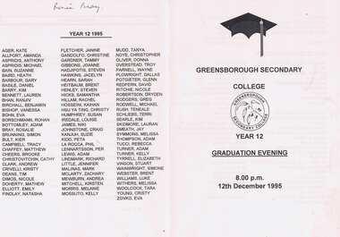 Program - Digital Image, Rosie Bray et al, Greensborough Secondary College Graduation Ceremony 1995. Gr8750, 12/12/1995