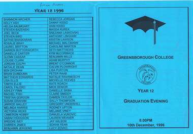 Program - Digital Image, Rosie Bray et al, Greensborough Secondary College Graduation Ceremony 1996. Gr8750, 10/12/1996