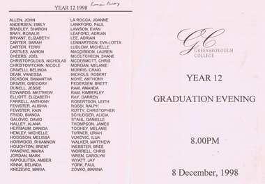 Program - Digital Image, Rosie Bray et al, Greensborough College Graduation Ceremony 1998. Gr8750, 08/12/1998